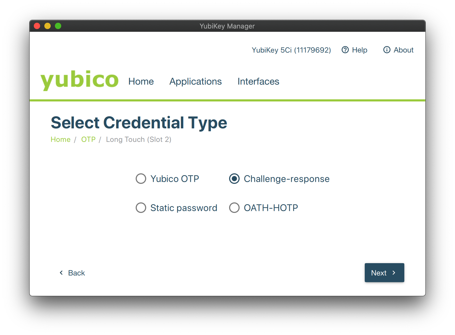 YubiKey Manager Credential Type